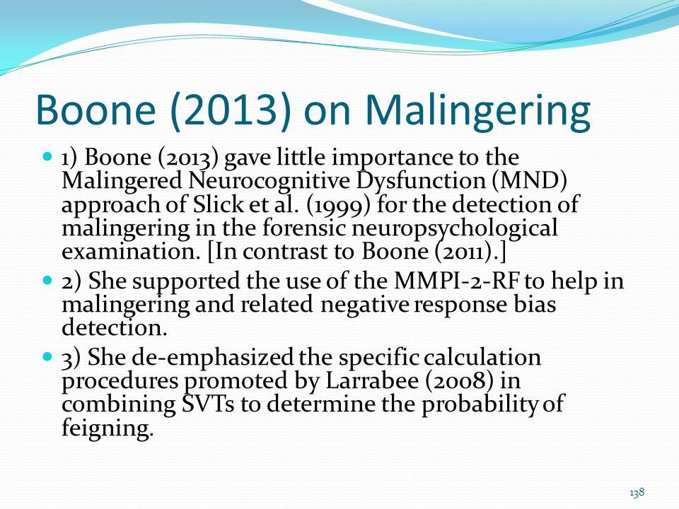 Boone (2013) on Malingering
