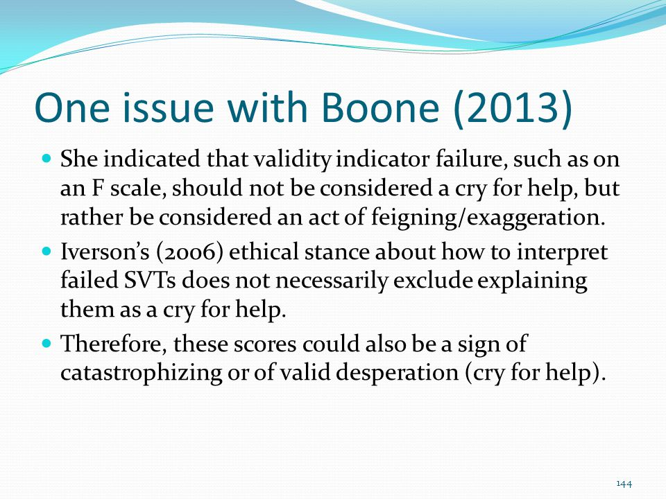 One issue with Boone (2013)