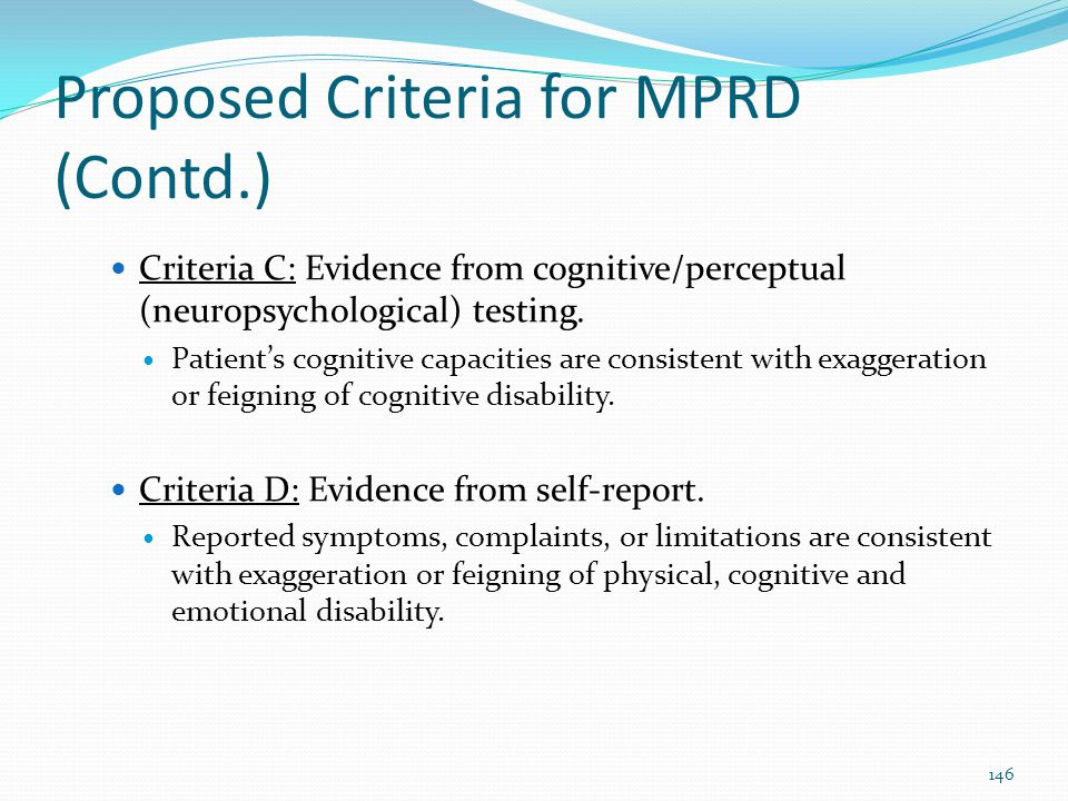 Proposed Criteria for MPRD (Contd.)