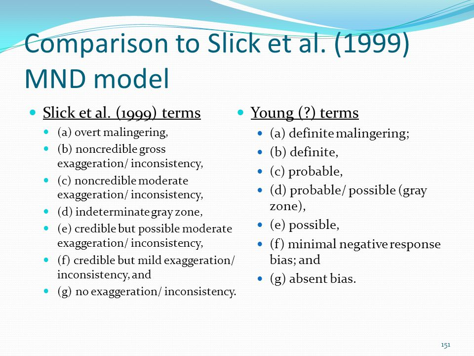 Comparison to Slick et al. (1999) MND model