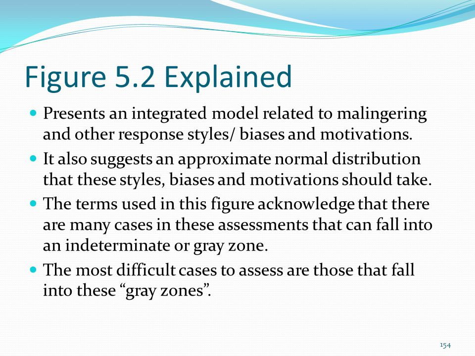 Figure 5.2 Explained Presents an integrated model related to malingering and other response styles/ biases and motivations.