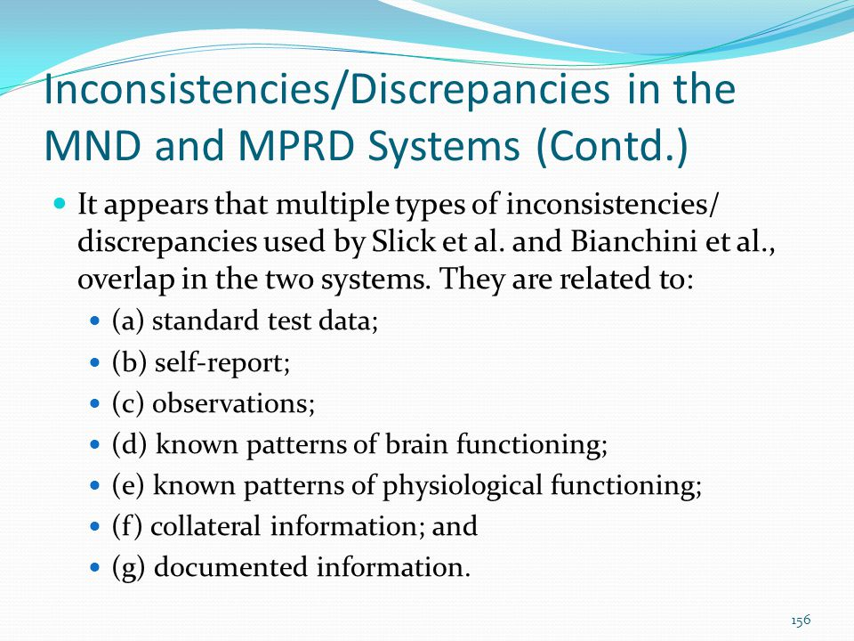Inconsistencies/Discrepancies in the MND and MPRD Systems (Contd.)
