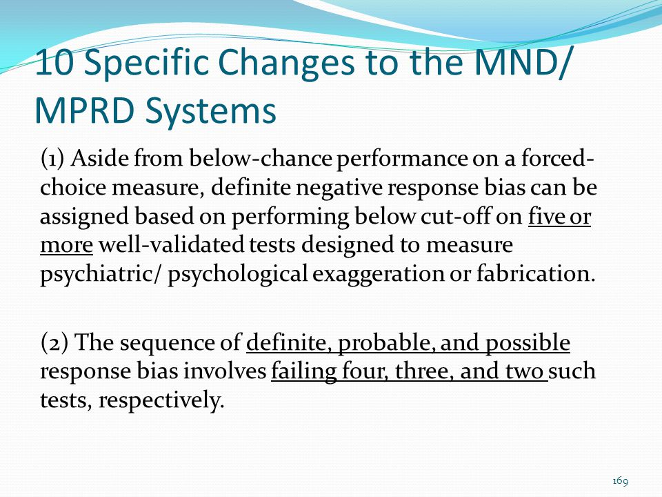 10 Specific Changes to the MND/ MPRD Systems