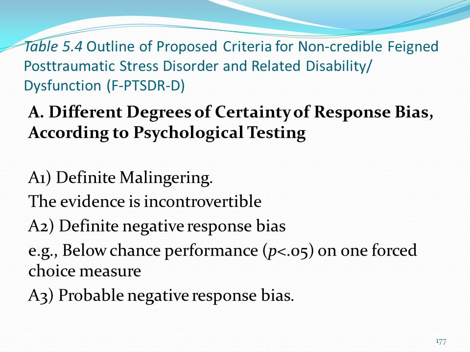 Table 5.4 Outline of Proposed Criteria for Non-credible Feigned Posttraumatic Stress Disorder and Related Disability/ Dysfunction (F-PTSDR-D)