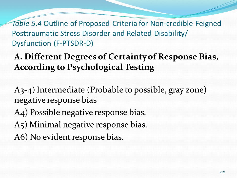 A4) Possible negative response bias.