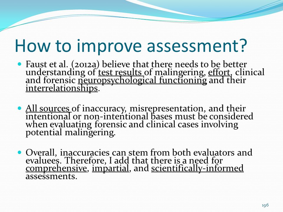 How to improve assessment