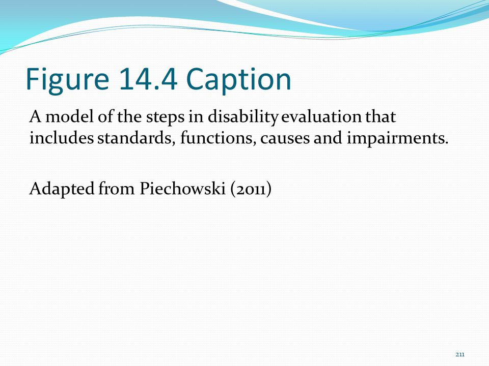 Figure 14.4 Caption A model of the steps in disability evaluation that includes standards, functions, causes and impairments.