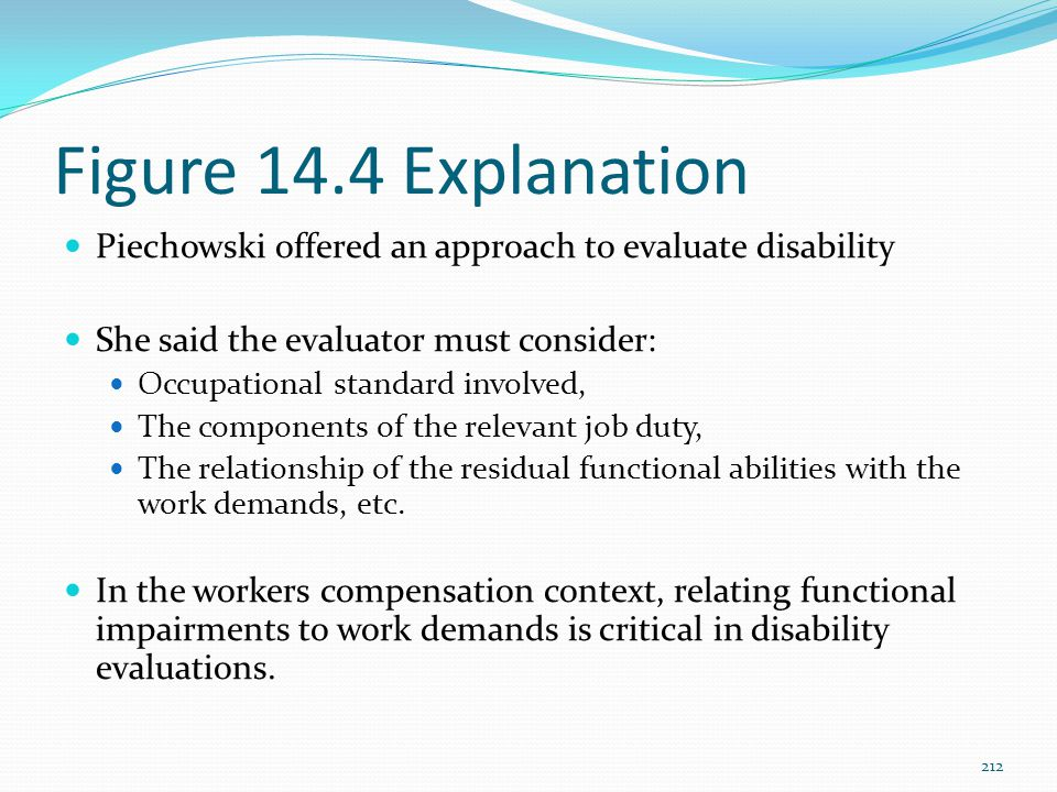 Figure 14.4 Explanation Piechowski offered an approach to evaluate disability. She said the evaluator must consider: