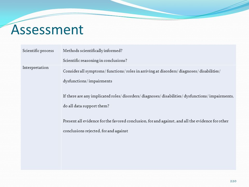 Assessment Scientific process Methods scientifically informed