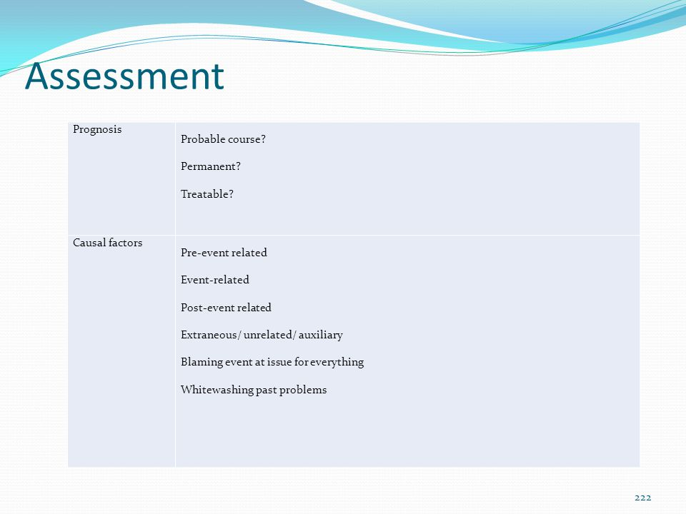 Assessment Prognosis Probable course Permanent Treatable
