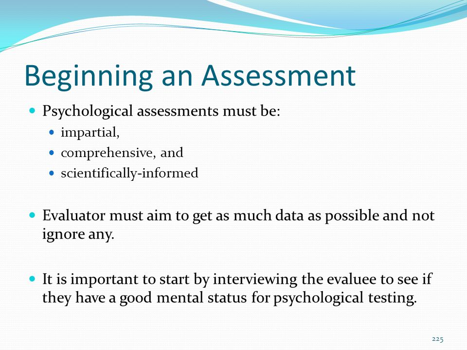 Beginning an Assessment