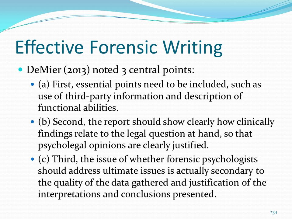 Effective Forensic Writing