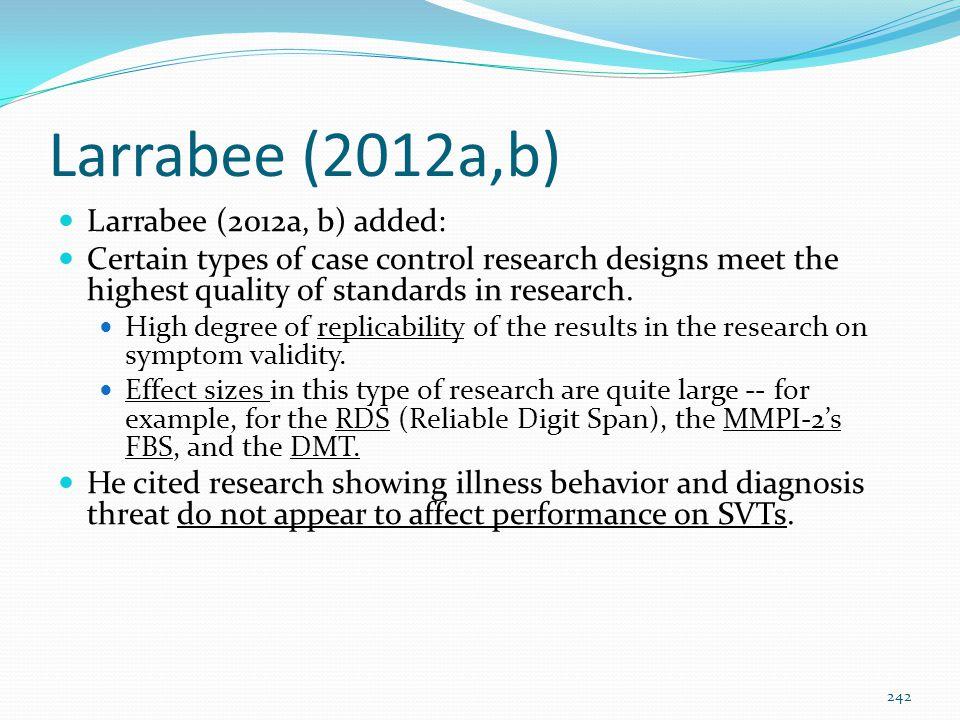 Larrabee (2012a,b) Larrabee (2012a, b) added: