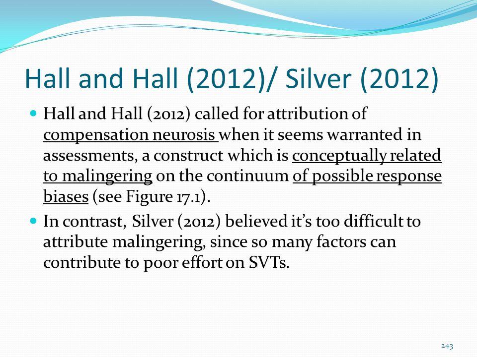 Hall and Hall (2012)/ Silver (2012)