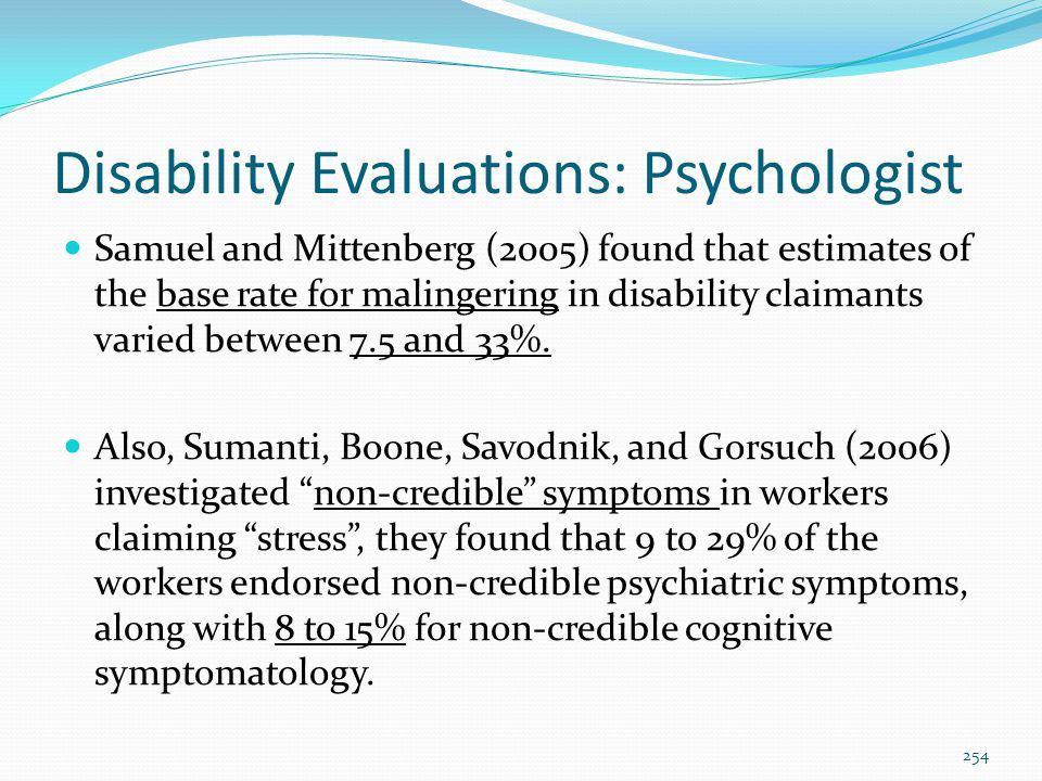 Disability Evaluations: Psychologist