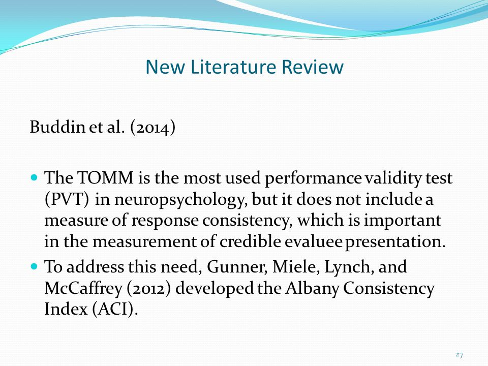 New Literature Review Buddin et al. (2014)