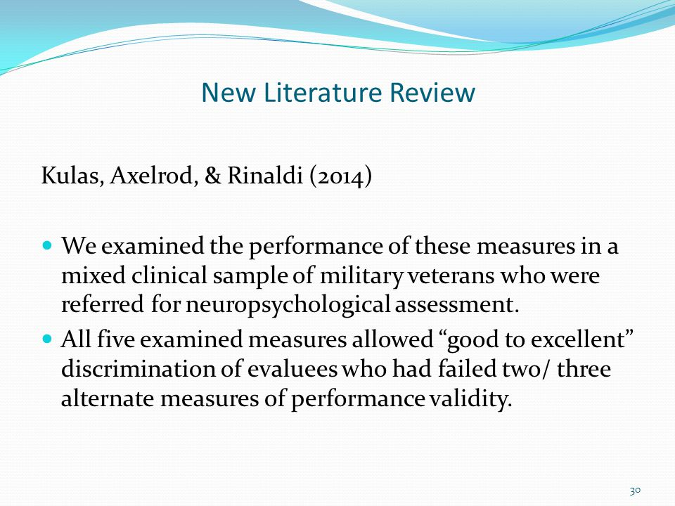 New Literature Review Kulas, Axelrod, & Rinaldi (2014)