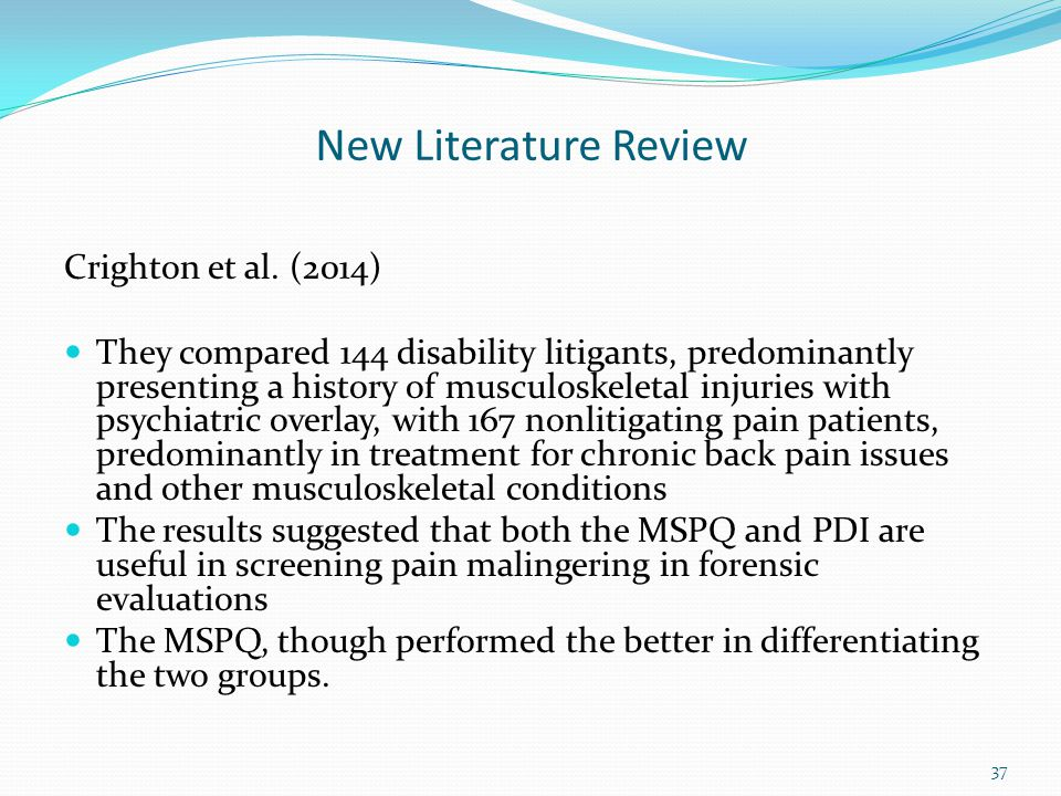New Literature Review Crighton et al. (2014)