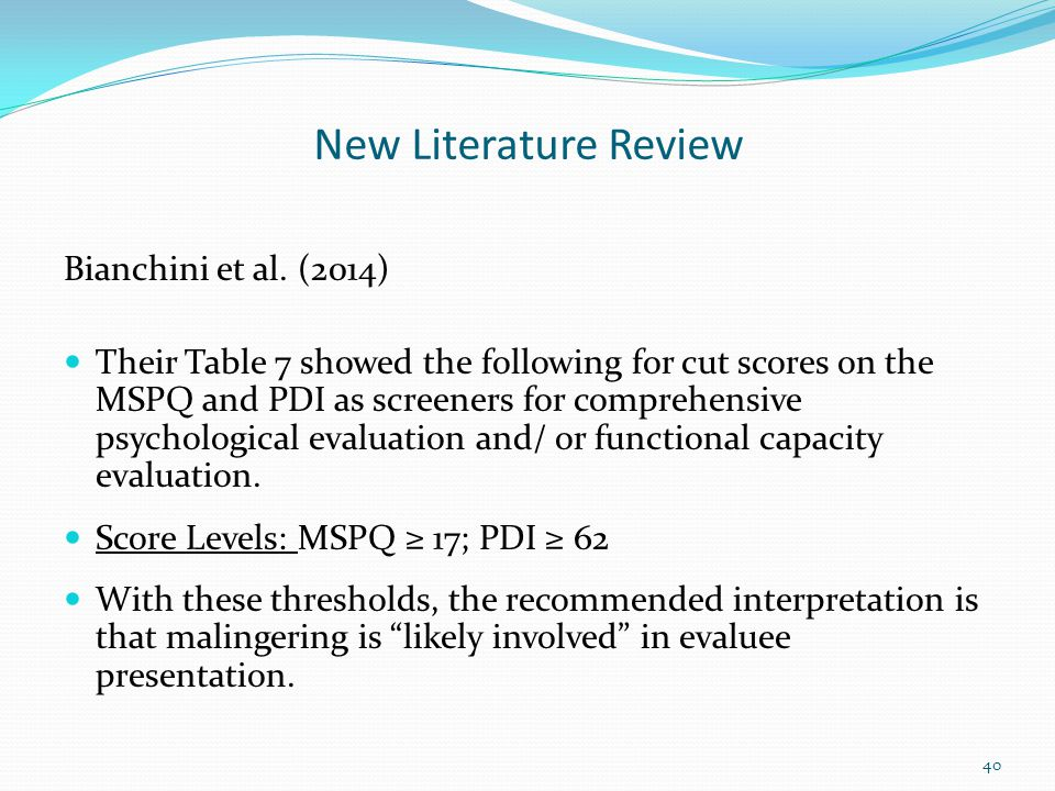 New Literature Review Bianchini et al. (2014)
