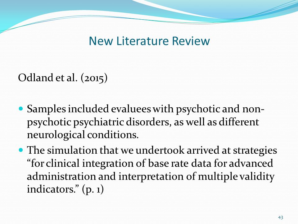 New Literature Review Odland et al. (2015)