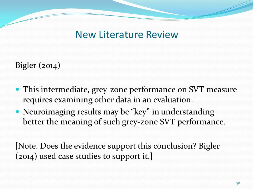 New Literature Review Bigler (2014)