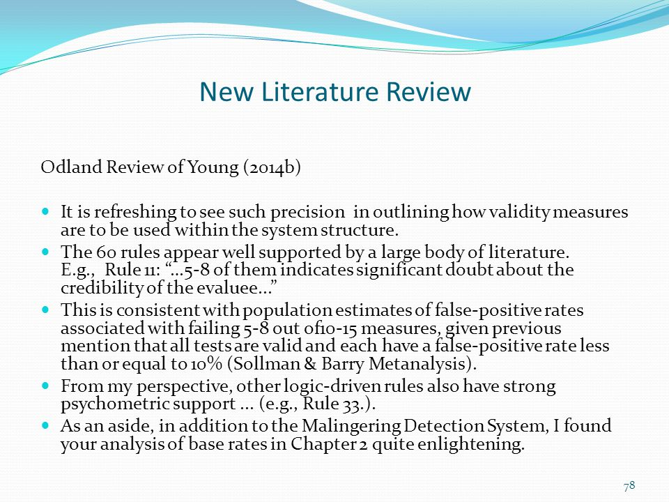 New Literature Review Odland Review of Young (2014b)