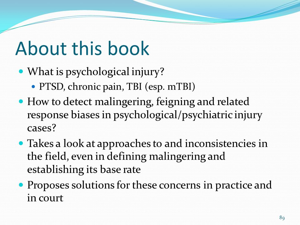 About this book What is psychological injury