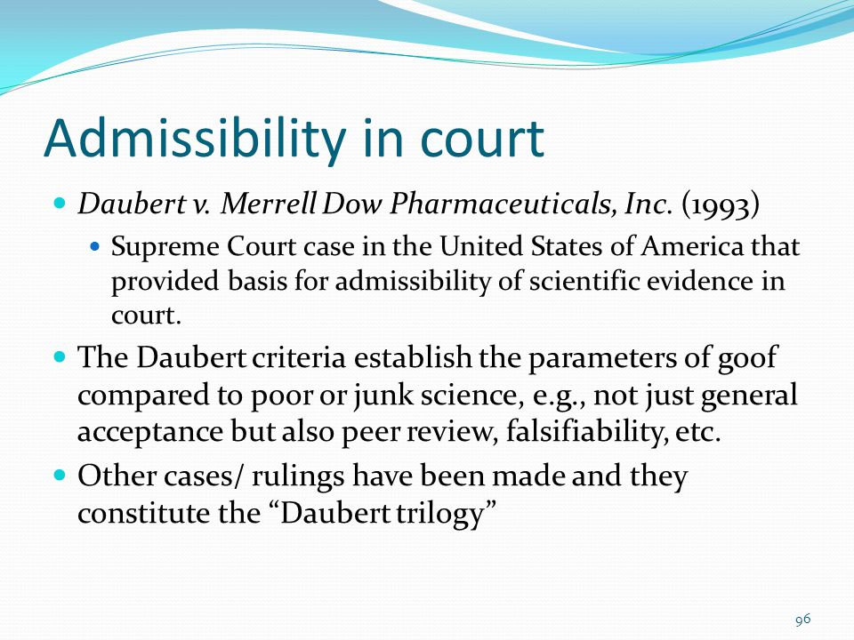 Admissibility in court
