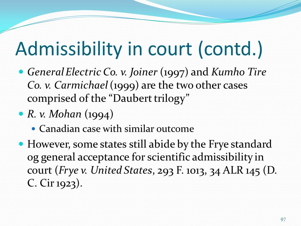 Admissibility in court (contd.)
