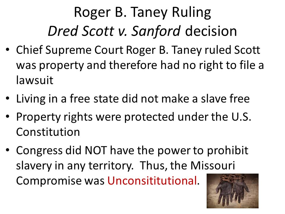 Roger B. Taney Ruling Dred Scott v. Sanford decision