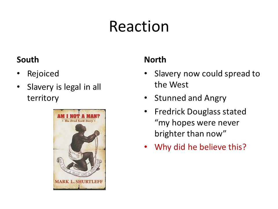 Reaction South North Rejoiced Slavery is legal in all territory