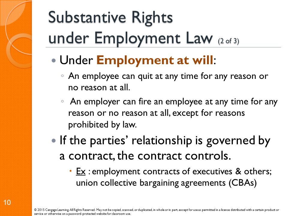 Substantive Rights under Employment Law (2 of 3)