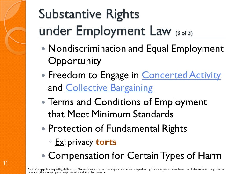 Substantive Rights under Employment Law (3 of 3)