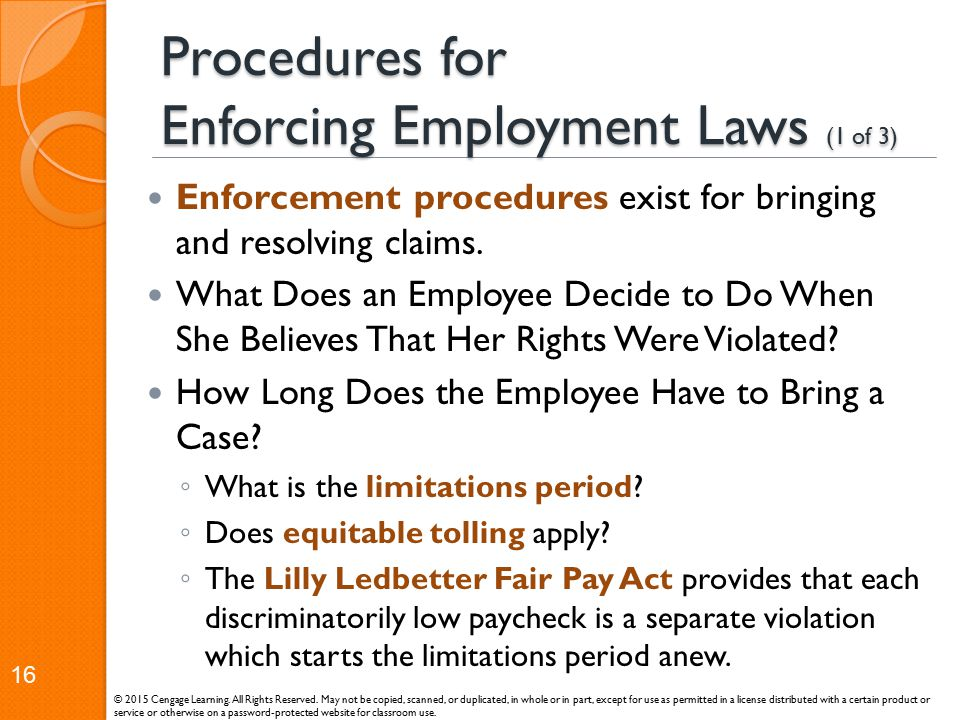 Procedures for Enforcing Employment Laws (1 of 3)