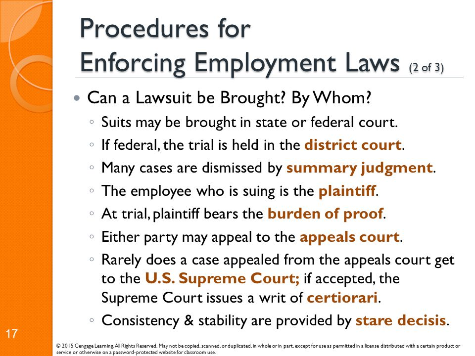 Procedures for Enforcing Employment Laws (2 of 3)