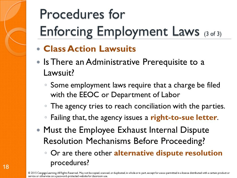 Procedures for Enforcing Employment Laws (3 of 3)