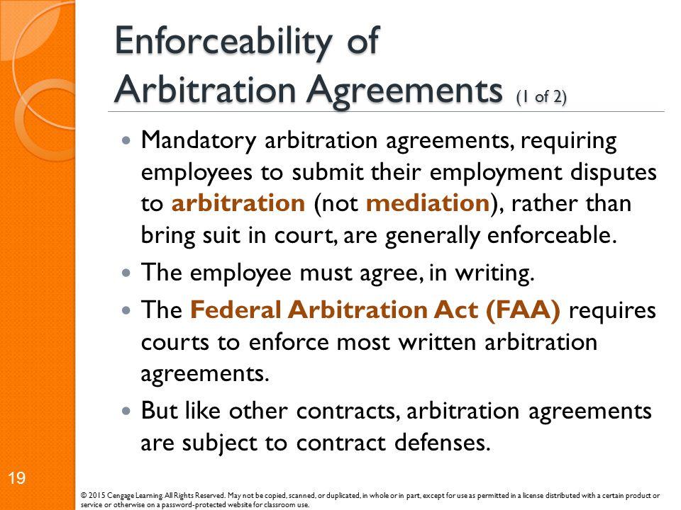 Enforceability of Arbitration Agreements (1 of 2)