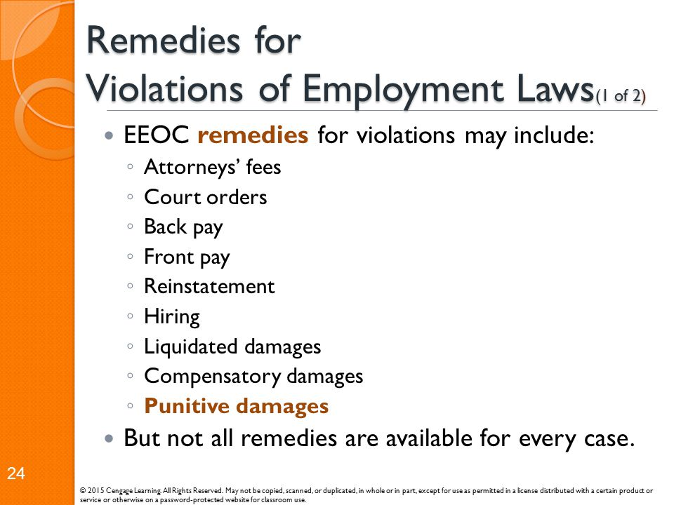 Remedies for Violations of Employment Laws(1 of 2)