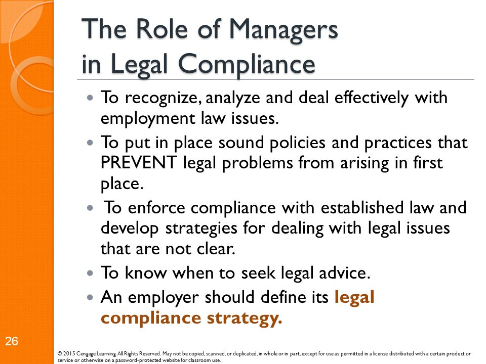 The Role of Managers in Legal Compliance