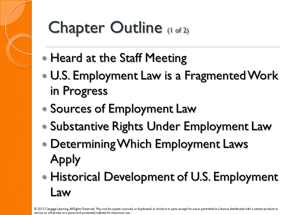 Chapter Outline (1 of 2) Heard at the Staff Meeting
