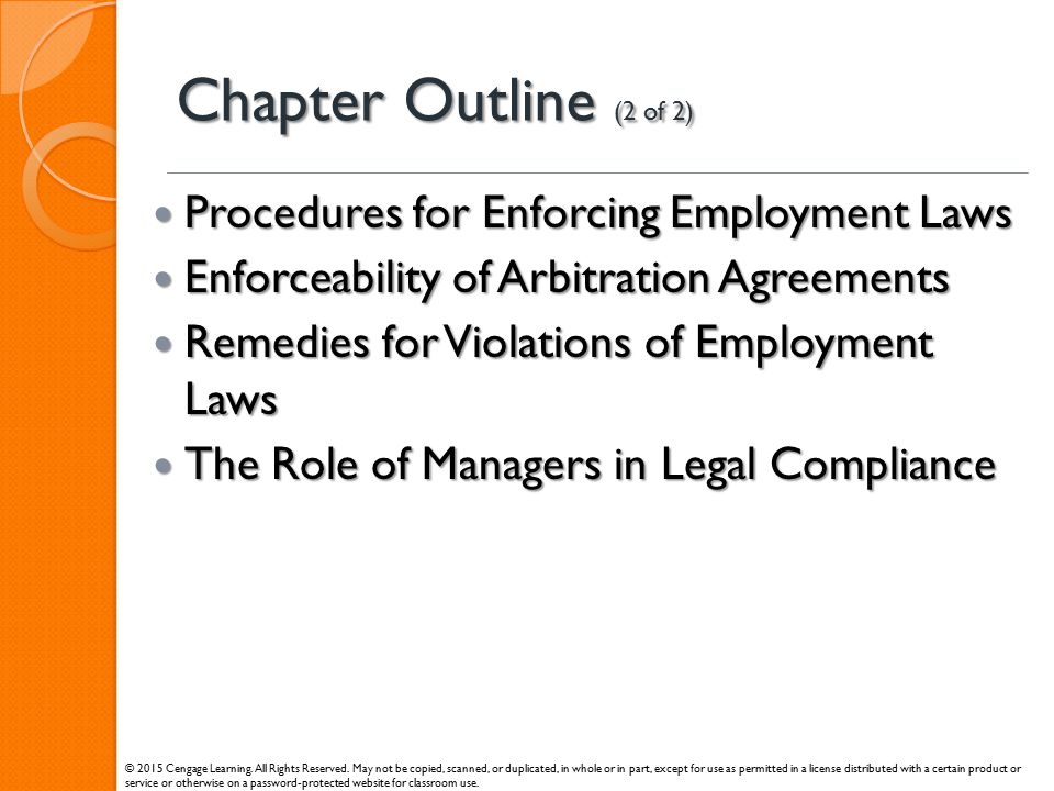 Chapter Outline (2 of 2) Procedures for Enforcing Employment Laws