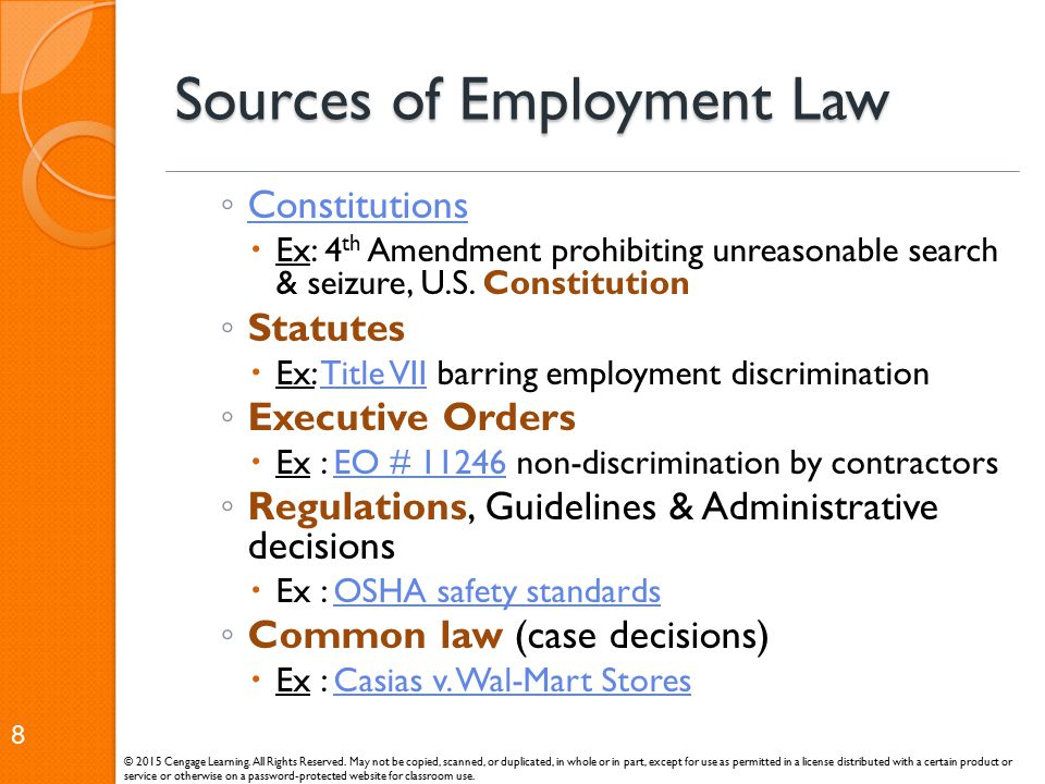 Sources of Employment Law
