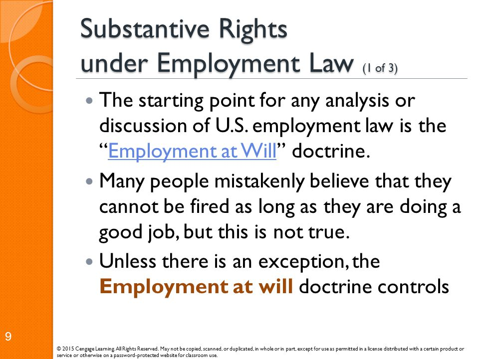 Substantive Rights under Employment Law (1 of 3)