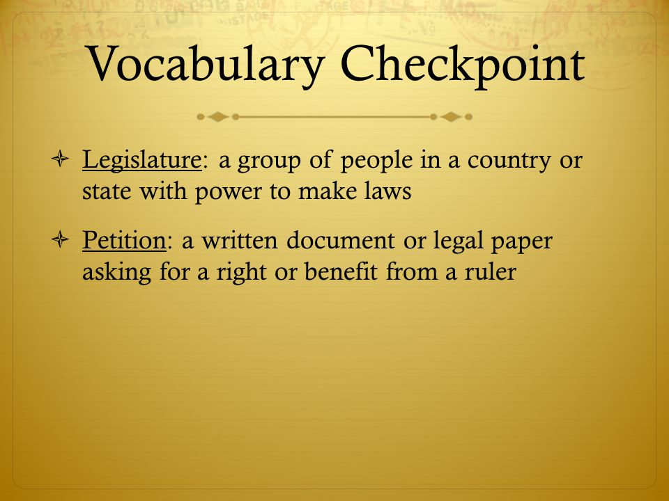 Vocabulary Checkpoint