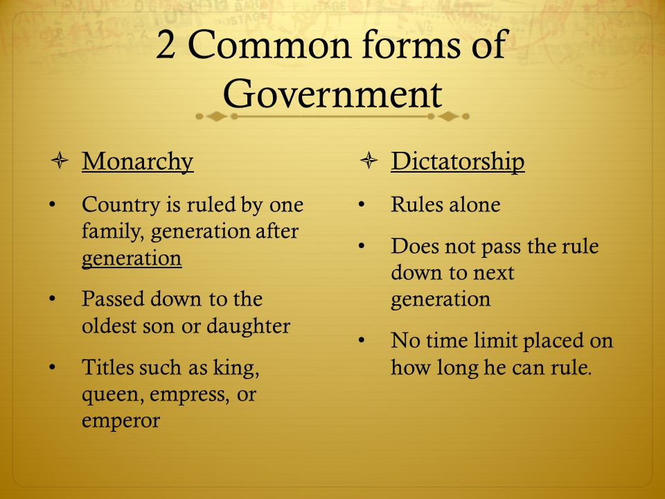 2 Common forms of Government