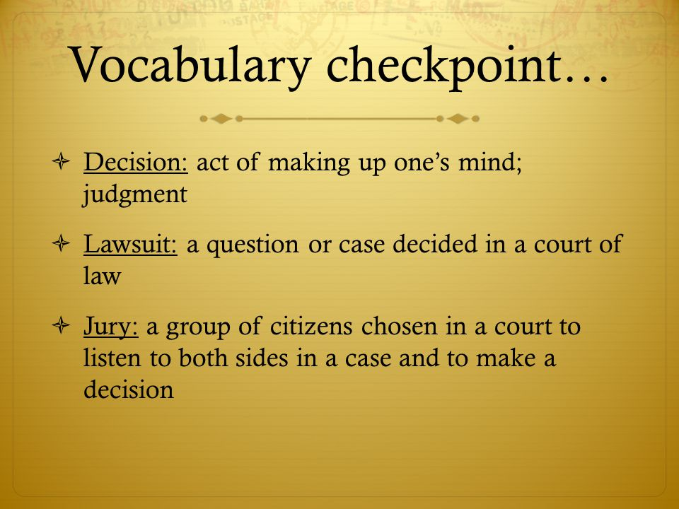 Vocabulary checkpoint…
