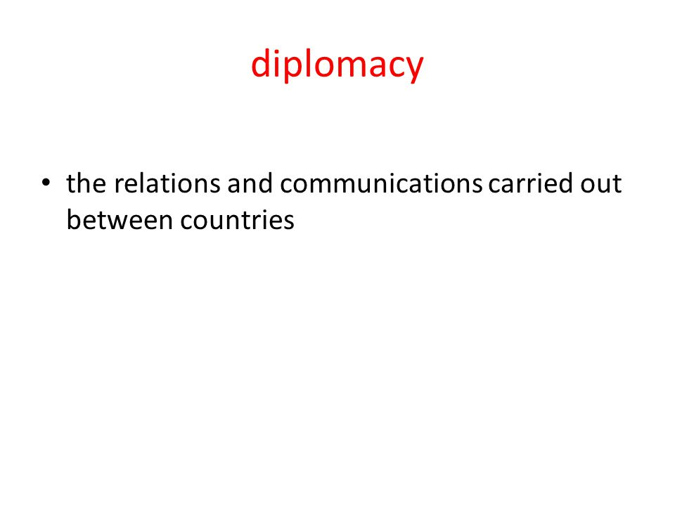 diplomacy the relations and communications carried out between countries