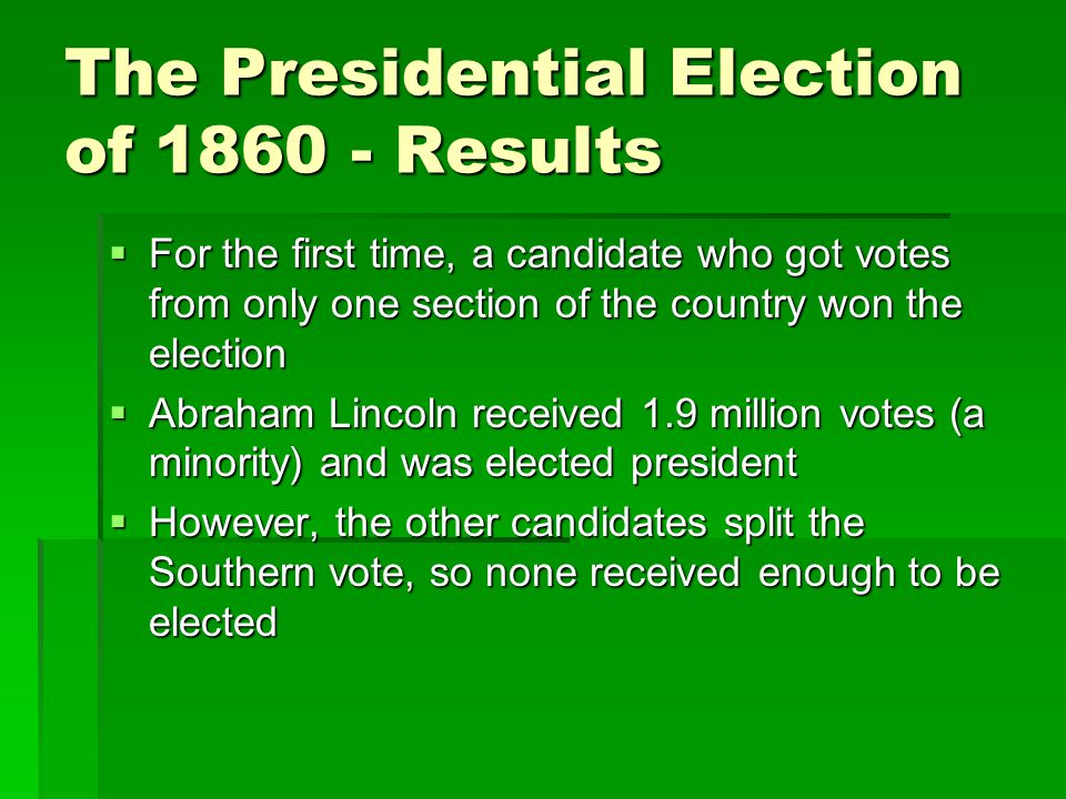 The Presidential Election of 1860 - Results