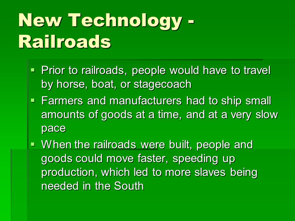New Technology - Railroads