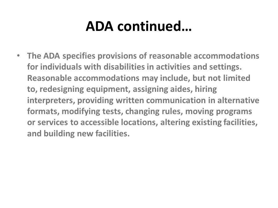 ADA continued…